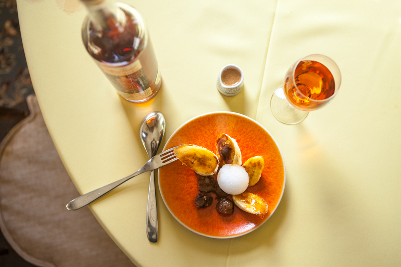 Recipe: Caramelised banana with candied walnuts & lemon sorbet