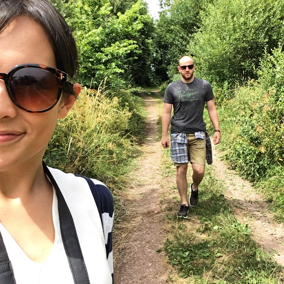 woman and man hiking