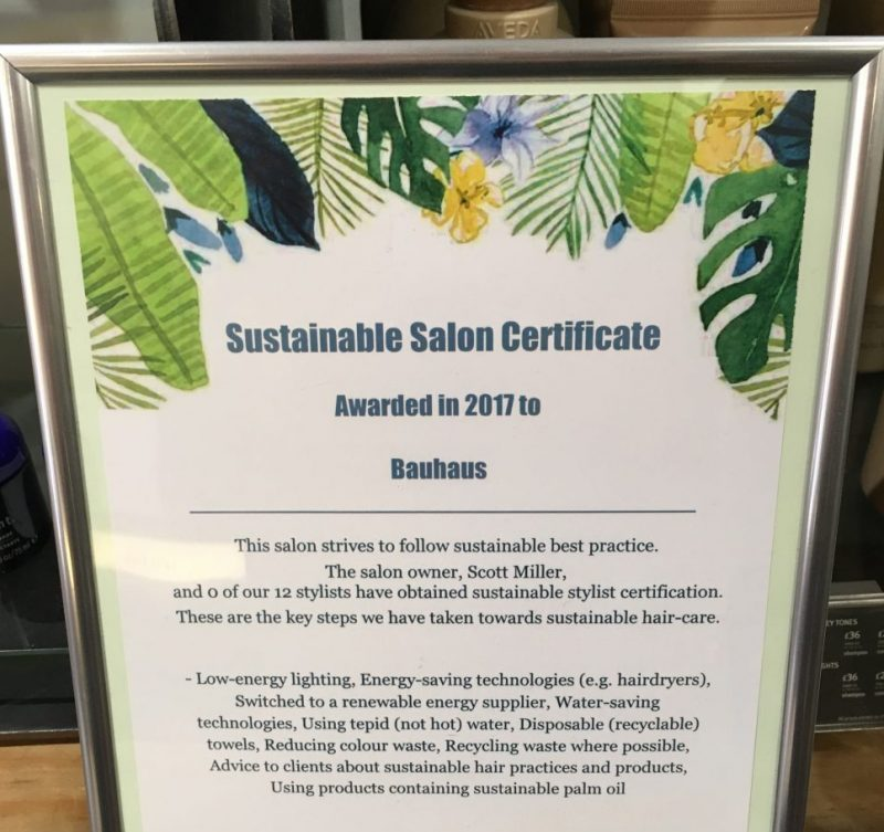 Cardiff sustainable salon certficate